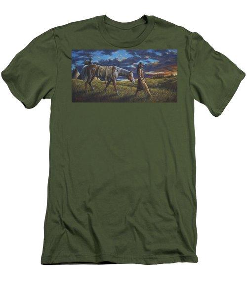 Men's T-Shirt (Slim Fit) featuring the painting Lakota Sunrise by Kim Lockman