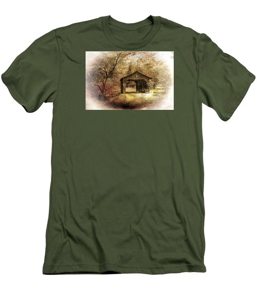 Men's T-Shirt (Slim Fit) featuring the photograph Lamplighter Covered Bridge by Judy  Johnson