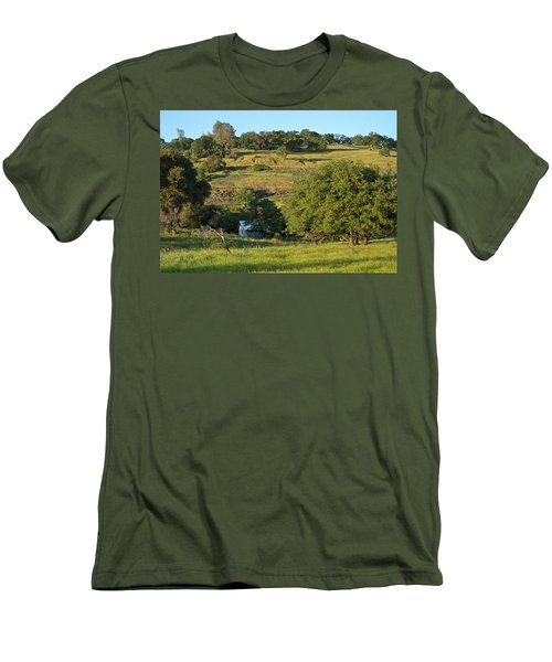 Men's T-Shirt (Athletic Fit) featuring the photograph Land Of Blue House by Michele Myers