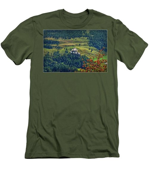 Men's T-Shirt (Athletic Fit) featuring the photograph Landscape With Castle by Hanny Heim