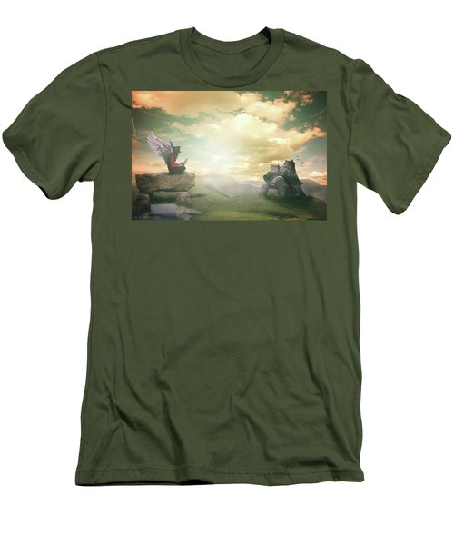 Men's T-Shirt (Slim Fit) featuring the digital art Laptop Dreams by Nathan Wright