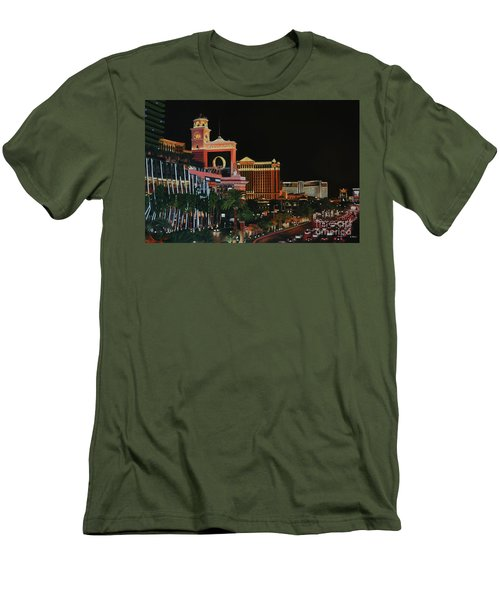 Las Vegas Strip Oil On Canvas Painting Men's T-Shirt (Athletic Fit)