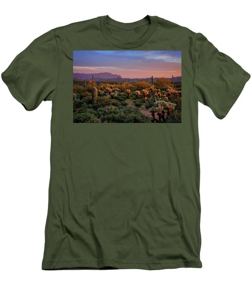 Men's T-Shirt (Slim Fit) featuring the photograph Last Light On The Sonoran  by Saija Lehtonen