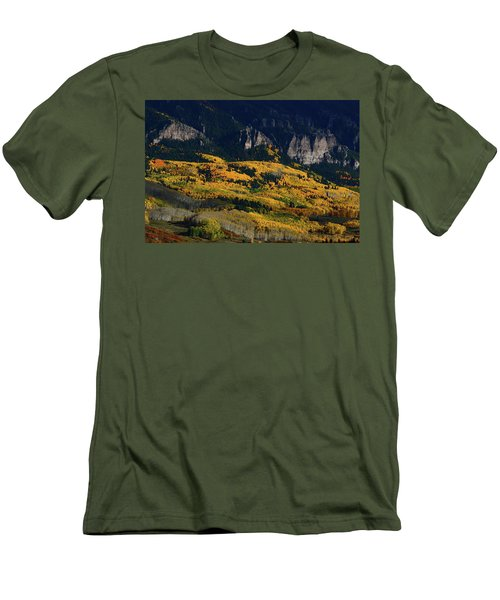 Men's T-Shirt (Slim Fit) featuring the photograph Late Afternoon Light On Aspen Groves At Silver Jack Colorado by Jetson Nguyen