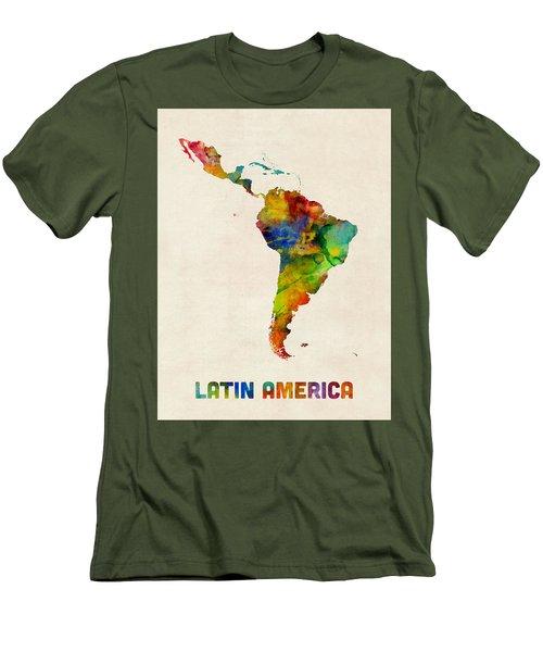 Men's T-Shirt (Slim Fit) featuring the digital art Latin America Watercolor Map by Michael Tompsett