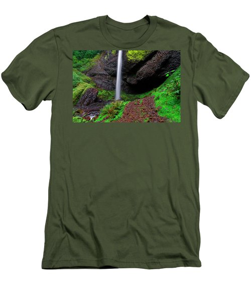 Latourell Falls Oregon Men's T-Shirt (Slim Fit) by Jonathan Davison