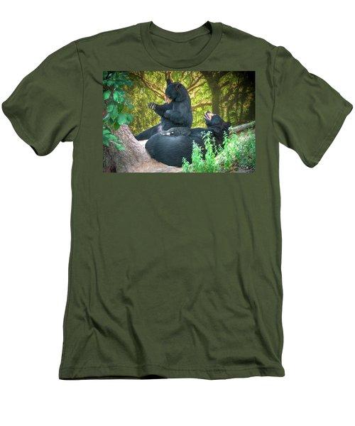 Men's T-Shirt (Slim Fit) featuring the painting Laughing Bears by John Haldane