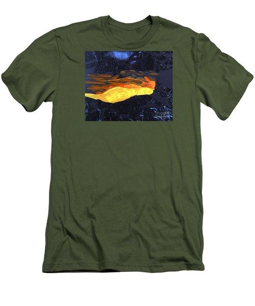 Men's T-Shirt (Slim Fit) featuring the painting Lava Flow by Karen Nicholson