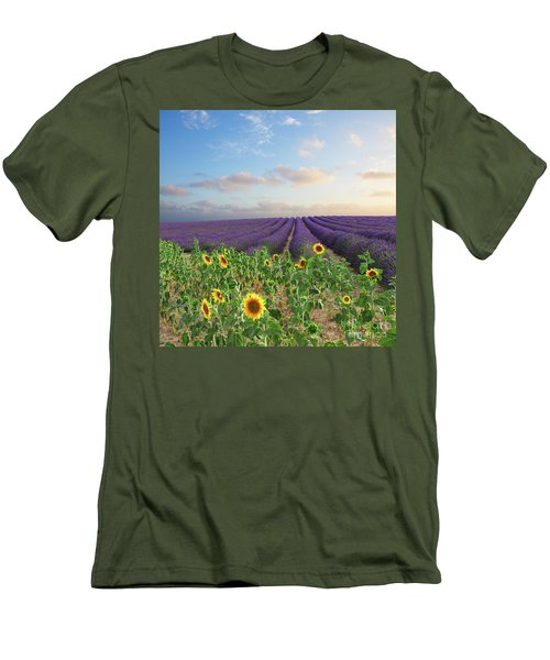 Lavender And Sunflower Flowers Field Men's T-Shirt (Slim Fit) by Anastasy Yarmolovich