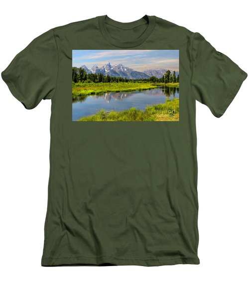 Lavender Teton Peaks  Men's T-Shirt (Athletic Fit)