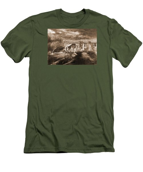 Men's T-Shirt (Slim Fit) featuring the drawing Lawn by Mikhail Savchenko