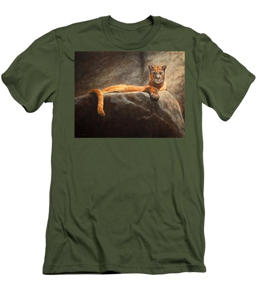 Laying Cougar Men's T-Shirt (Athletic Fit)