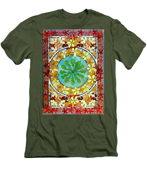 Leaf Motif 1901 Men's T-Shirt (Slim Fit) by Padre Art
