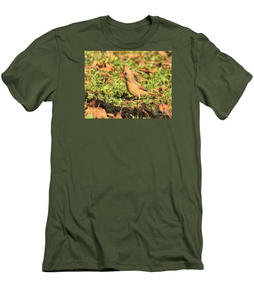 Men's T-Shirt (Slim Fit) featuring the photograph Leafy Cardinal by Debbie Stahre