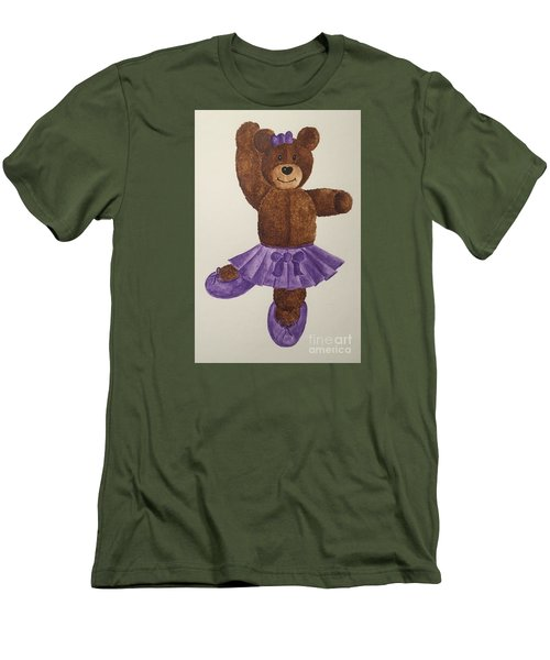 Men's T-Shirt (Slim Fit) featuring the painting Leah's Ballerina Bear 1 by Tamir Barkan