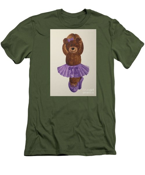 Men's T-Shirt (Slim Fit) featuring the painting Leah's Ballerina Bear 3 by Tamir Barkan