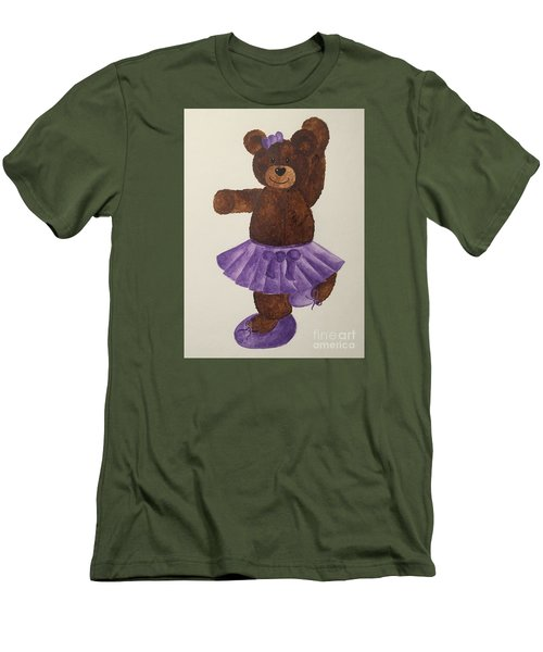 Men's T-Shirt (Slim Fit) featuring the painting Leah's Ballerina Bear 4 by Tamir Barkan