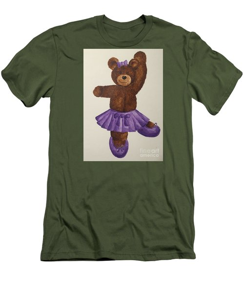 Men's T-Shirt (Slim Fit) featuring the painting Leah's Ballerina Bear 5 by Tamir Barkan