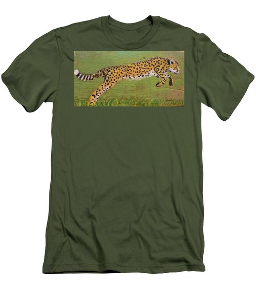 Leaping Cheetah Men's T-Shirt (Slim Fit) by Ann Michelle Swadener