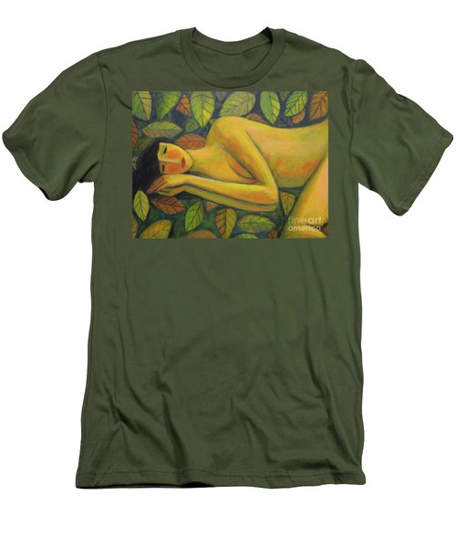 Men's T-Shirt (Slim Fit) featuring the painting Leaves Of Absence by Glenn Quist