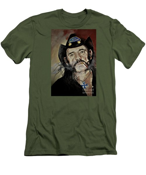 Men's T-Shirt (Slim Fit) featuring the drawing Lemmy Kilmister Motorhead by Maja Sokolowska