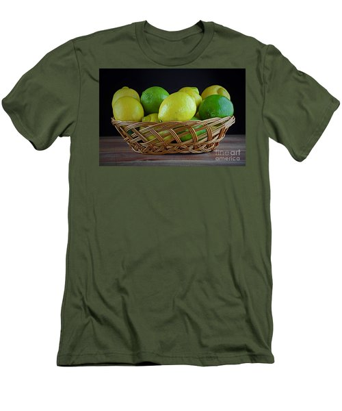 Lemon And Lime Basket Men's T-Shirt (Slim Fit) by Ray Shrewsberry
