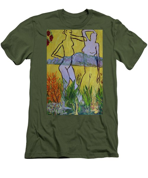 Men's T-Shirt (Slim Fit) featuring the painting Les Nymphs D'aureille by Paul McKey