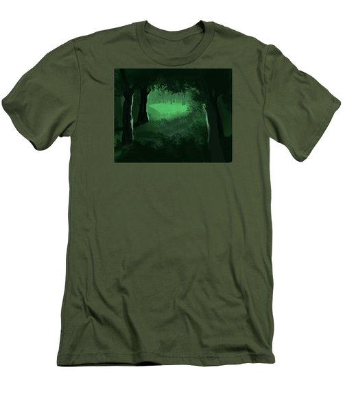 Light In The Forest Men's T-Shirt (Slim Fit) by Walter Chamberlain