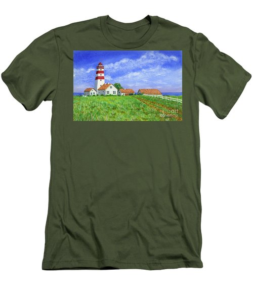 Lighthouse Pasture Men's T-Shirt (Slim Fit) by Val Miller