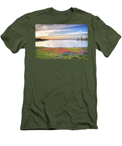 Lighthouse Sunset At Lake Buchanan Men's T-Shirt (Slim Fit) by Lynn Bauer