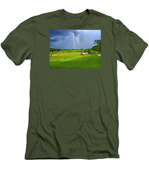 Lightning Storm Over Jenne Farm Men's T-Shirt (Slim Fit) by John Vose