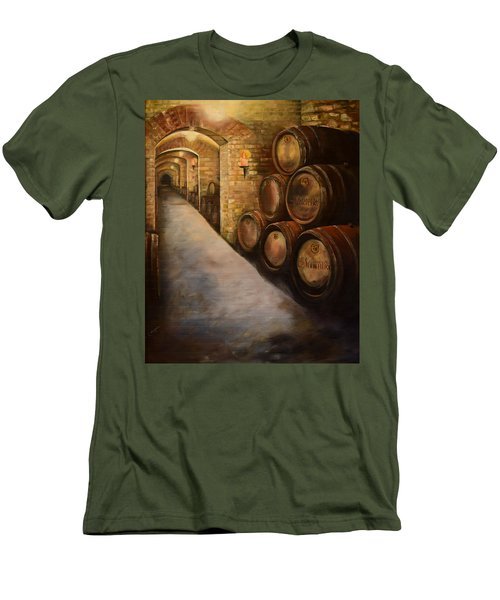 Men's T-Shirt (Athletic Fit) featuring the painting Lights In The Wine Cellar - Chateau Meichtry Vineyard by Jan Dappen