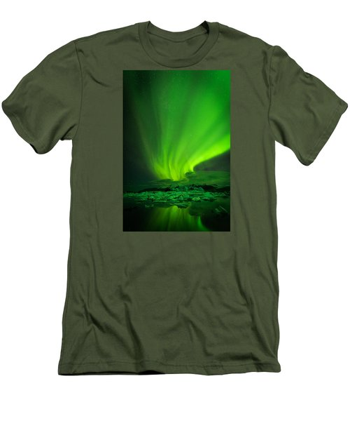 Lights Over Jokulsarlon Men's T-Shirt (Slim Fit) by Chris McKenna