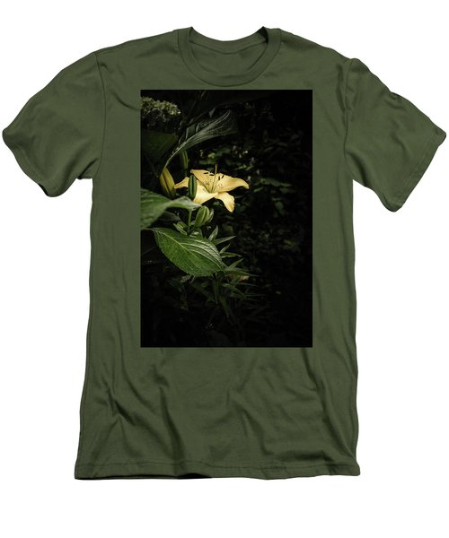 Men's T-Shirt (Slim Fit) featuring the photograph Lily In The Garden Of Shadows by Marco Oliveira