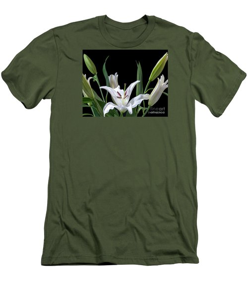 A White Oriental Lily Surrounded Men's T-Shirt (Slim Fit) by David Perry Lawrence