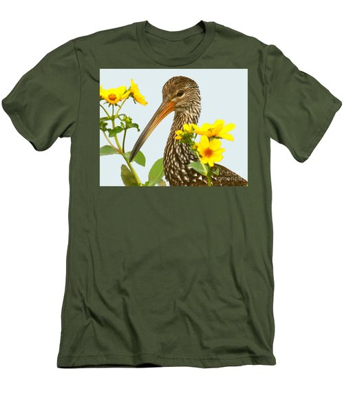 Men's T-Shirt (Slim Fit) featuring the photograph Limpkin In The Flowers by Myrna Bradshaw