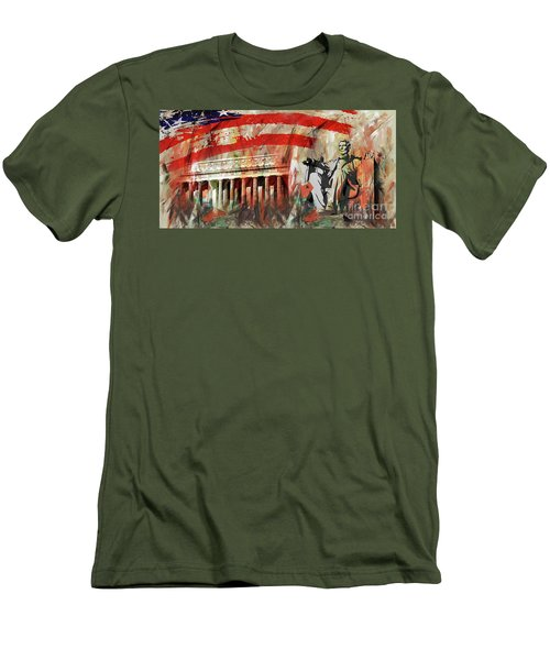Men's T-Shirt (Slim Fit) featuring the painting Lincoln Memorial And Lincoln Statue by Gull G