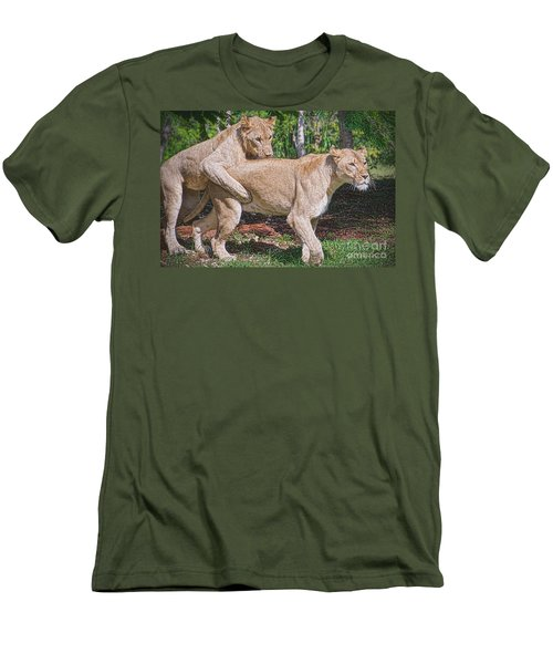 Men's T-Shirt (Slim Fit) featuring the painting Lion Backer by Judy Kay