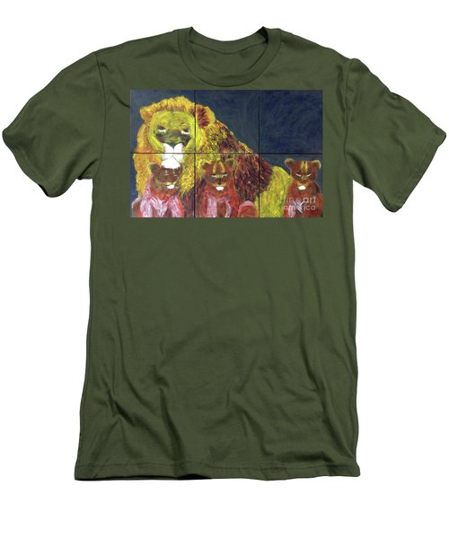 Men's T-Shirt (Athletic Fit) featuring the painting Lion Family by Donald J Ryker III