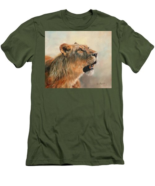 Men's T-Shirt (Slim Fit) featuring the painting Lioness Portrait 2 by David Stribbling