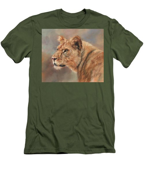 Men's T-Shirt (Slim Fit) featuring the painting Lioness Portrait by David Stribbling