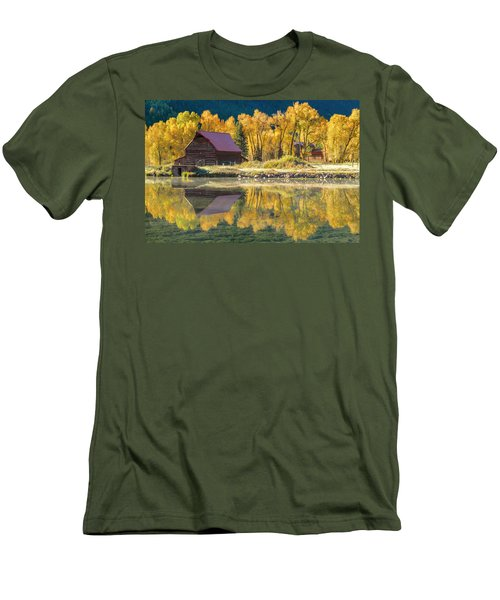 Little Barn By The Lake Men's T-Shirt (Slim Fit) by Teri Virbickis