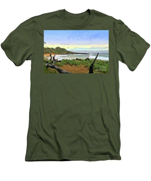 Men's T-Shirt (Slim Fit) featuring the photograph Little Beach by DJ Florek