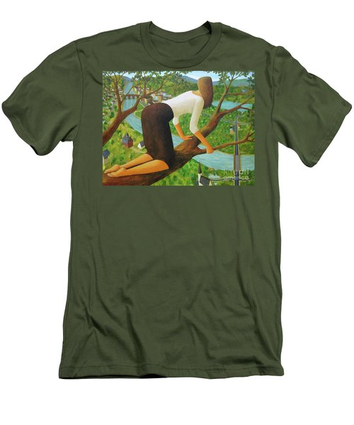 Men's T-Shirt (Slim Fit) featuring the painting Little Bird by Glenn Quist