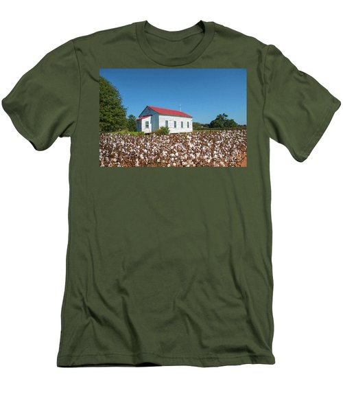 Men's T-Shirt (Slim Fit) featuring the photograph Little Church In The Cotton Field by Bonnie Barry