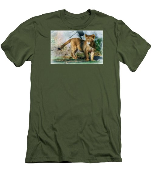 Men's T-Shirt (Slim Fit) featuring the photograph Little Cub by Elaine Malott
