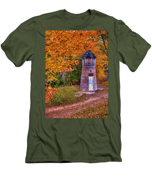 Men's T-Shirt (Slim Fit) featuring the photograph Little Falls Autumn Lighthouse by Trey Foerster