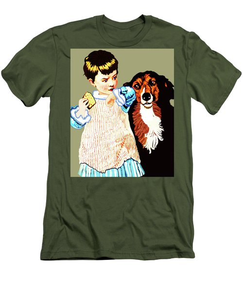 Little Girl With Hungry Mutt Men's T-Shirt (Athletic Fit)
