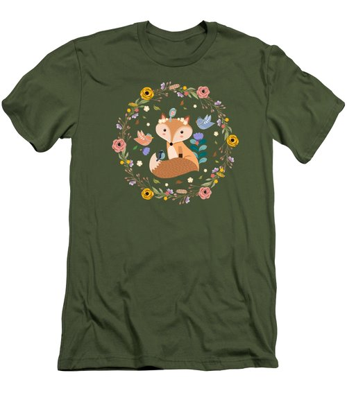 Little Princess Fox With Friends And Foliage Men's T-Shirt (Athletic Fit)