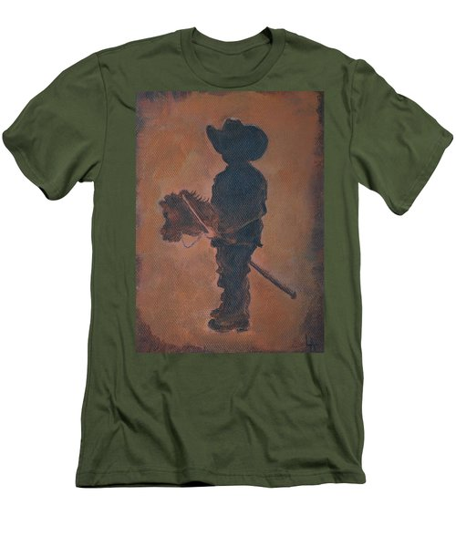 Men's T-Shirt (Slim Fit) featuring the painting Little Rider by Leslie Allen